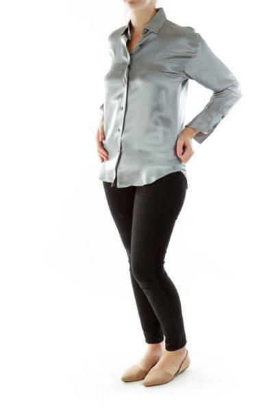 Silver Shimmer Silk Blouse