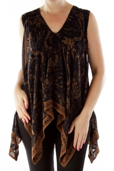 Brown Black Floral Print Layered Blouse