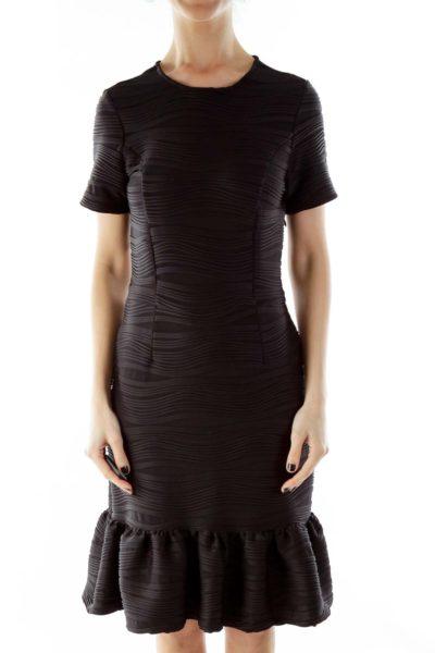 Black Textured Ruffled Short Sleeve Cocktail Dress