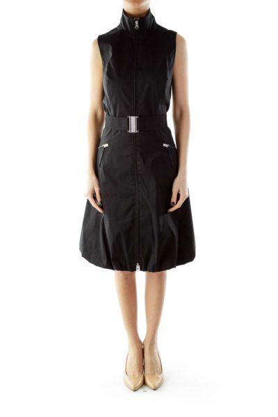 Black Zippered Belted Day Dress