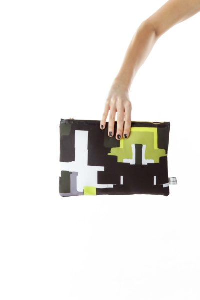 Black Green Geometric Print Clutch