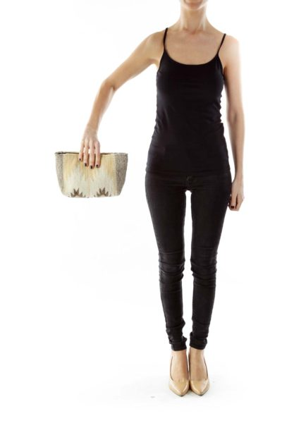 Brown Beige Tribal Wool Clutch