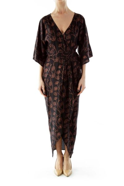 Copper Flower Print Kimono Maxi Wrap Dress