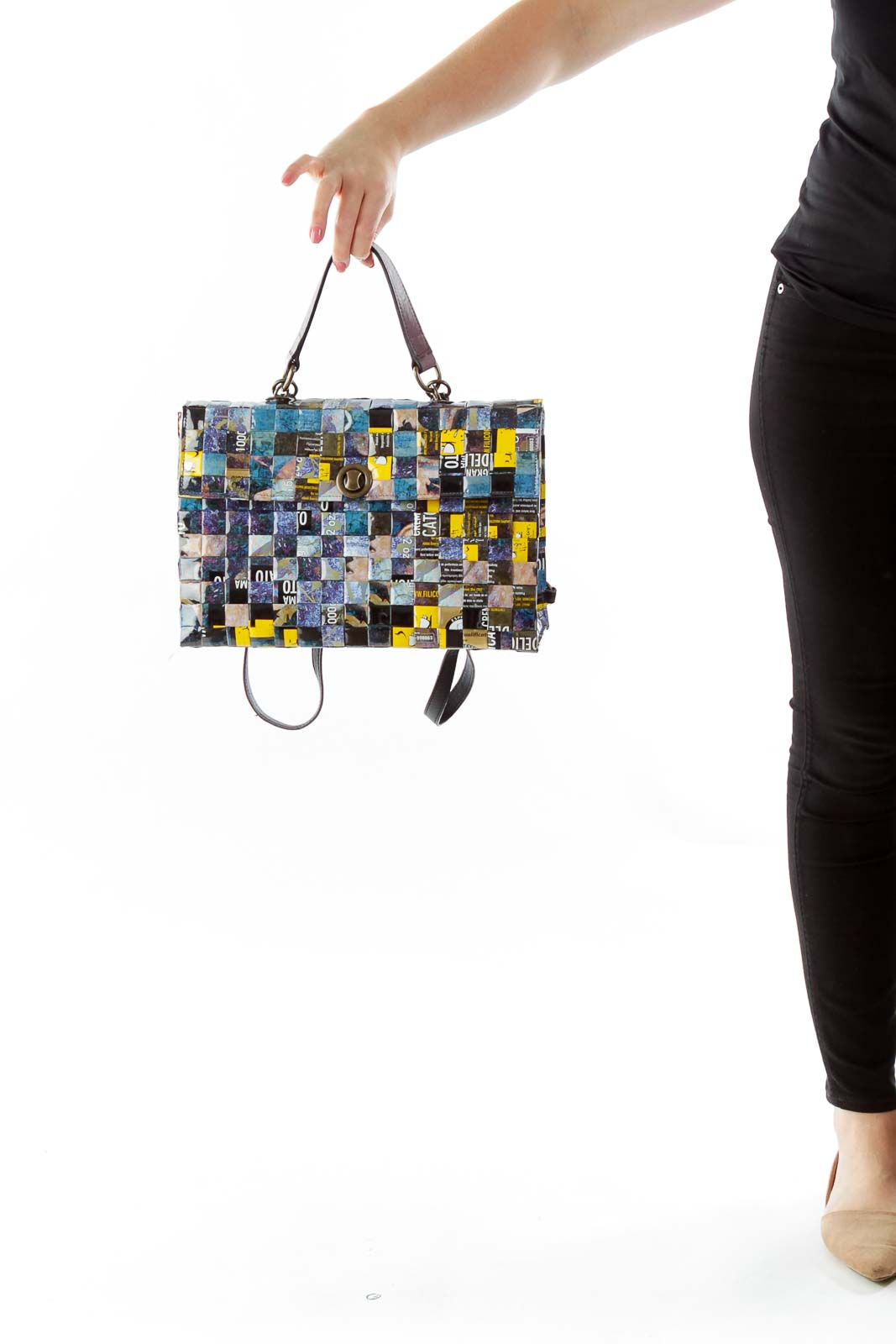 Multicolor Textured Convertible Bag