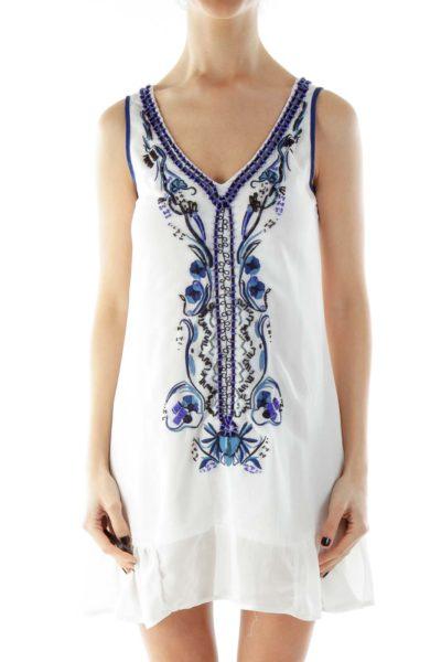 White Blue V-Neck Beaded Day Dress