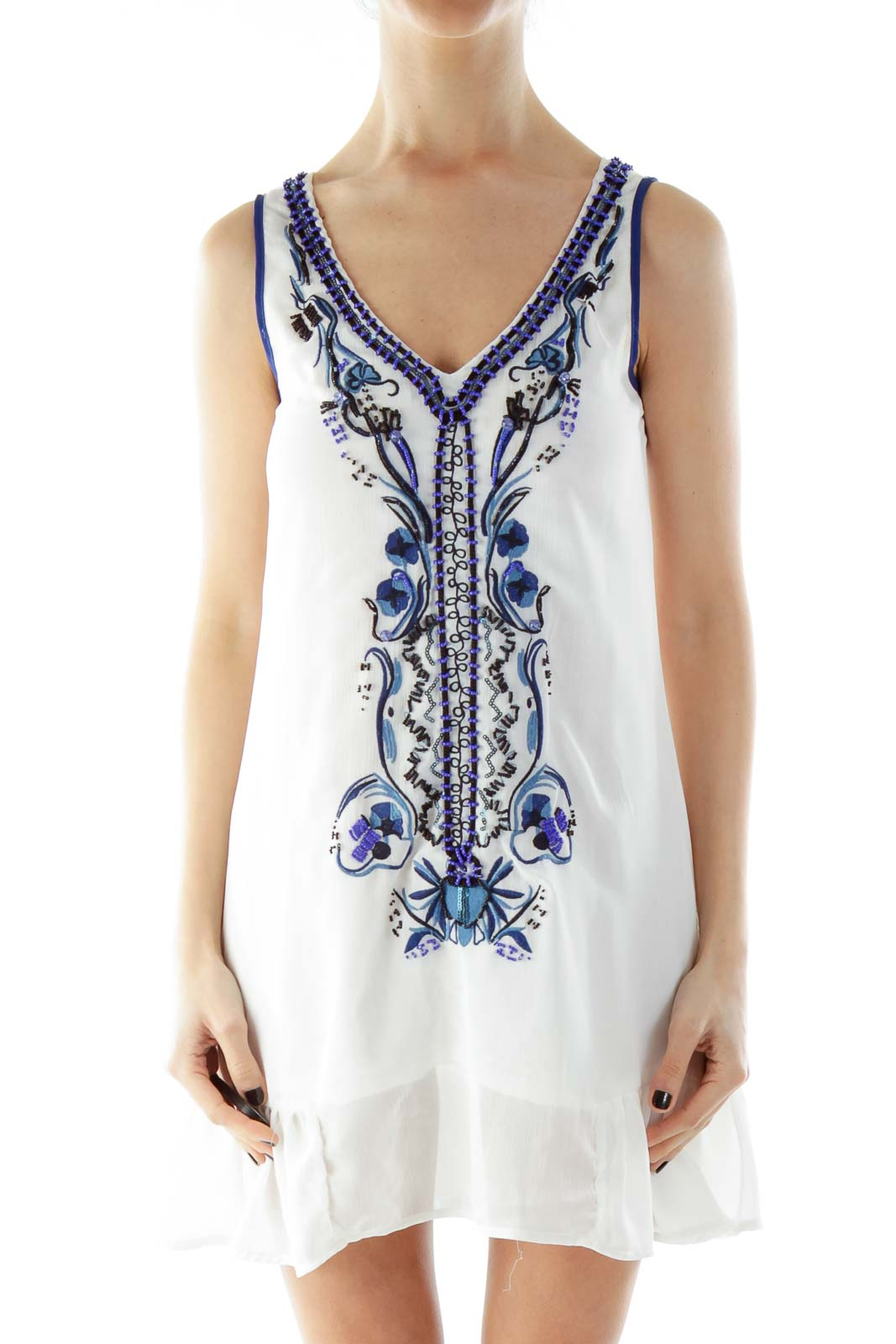 White Blue V-Neck Beaded Day Dress