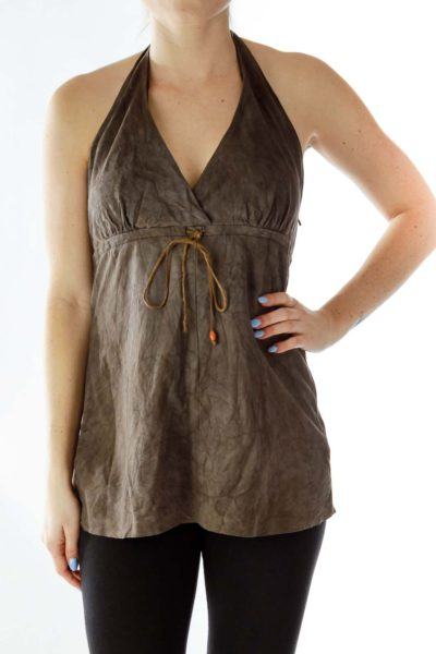 Brown Suede Halter Top