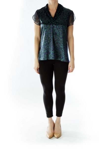 Blue Green Cheetah Print Blouse