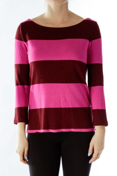 Burgundy Pink Striped Sweater