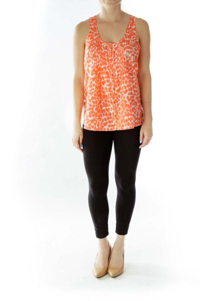 Orange Buttoned Tank Top