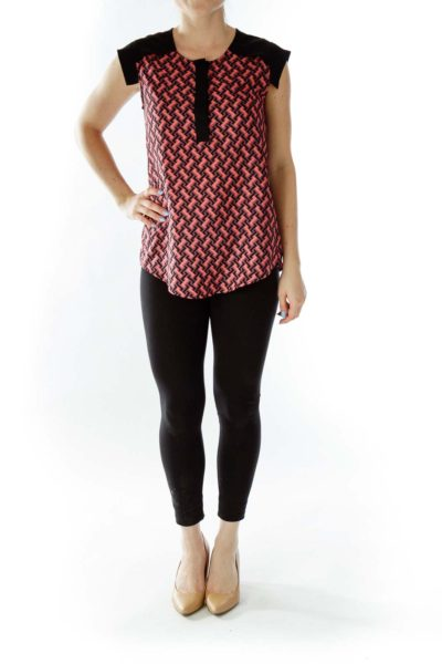 Black Pink Geometric Print Buttoned Blouse
