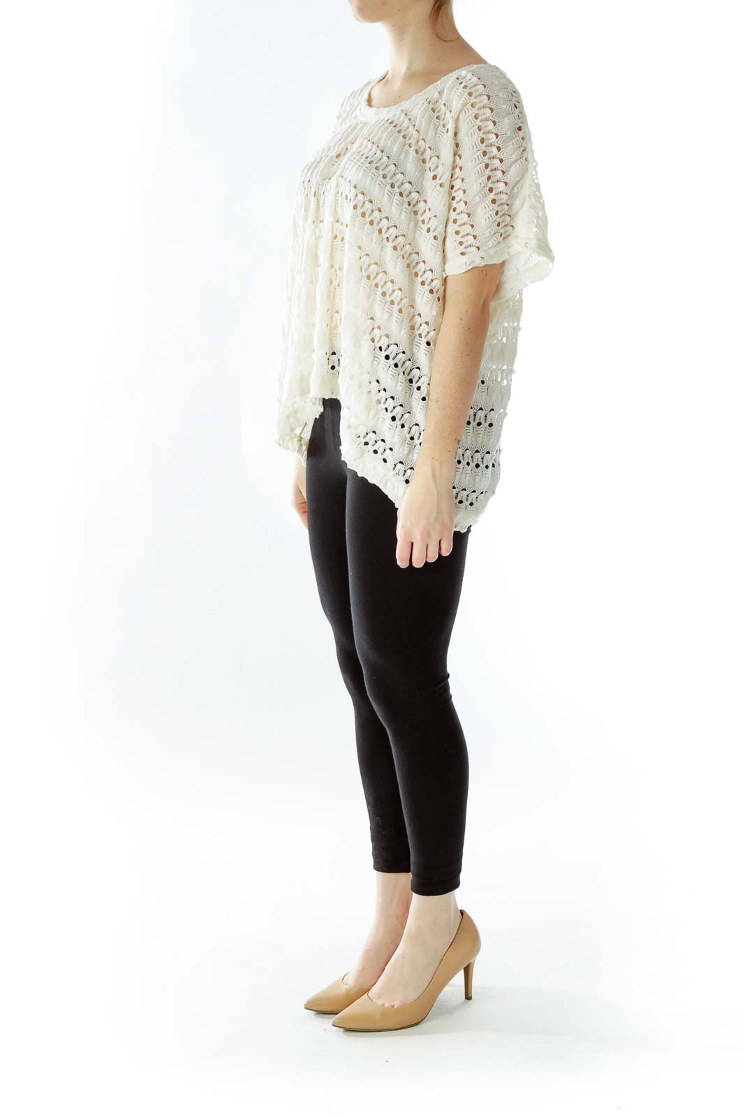 Cream Oversized See-Through Knit Top
