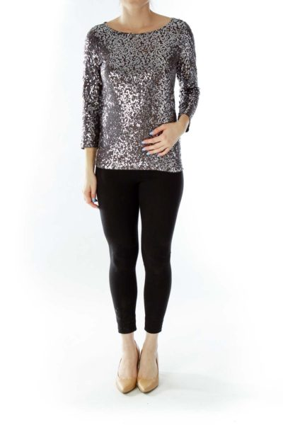 Gray Sequined Top