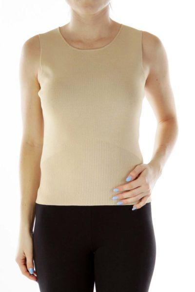 Beige Jersey-Knit Tank Top