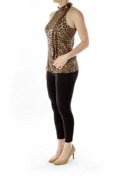 Brown Cheetah Silk Halter Top