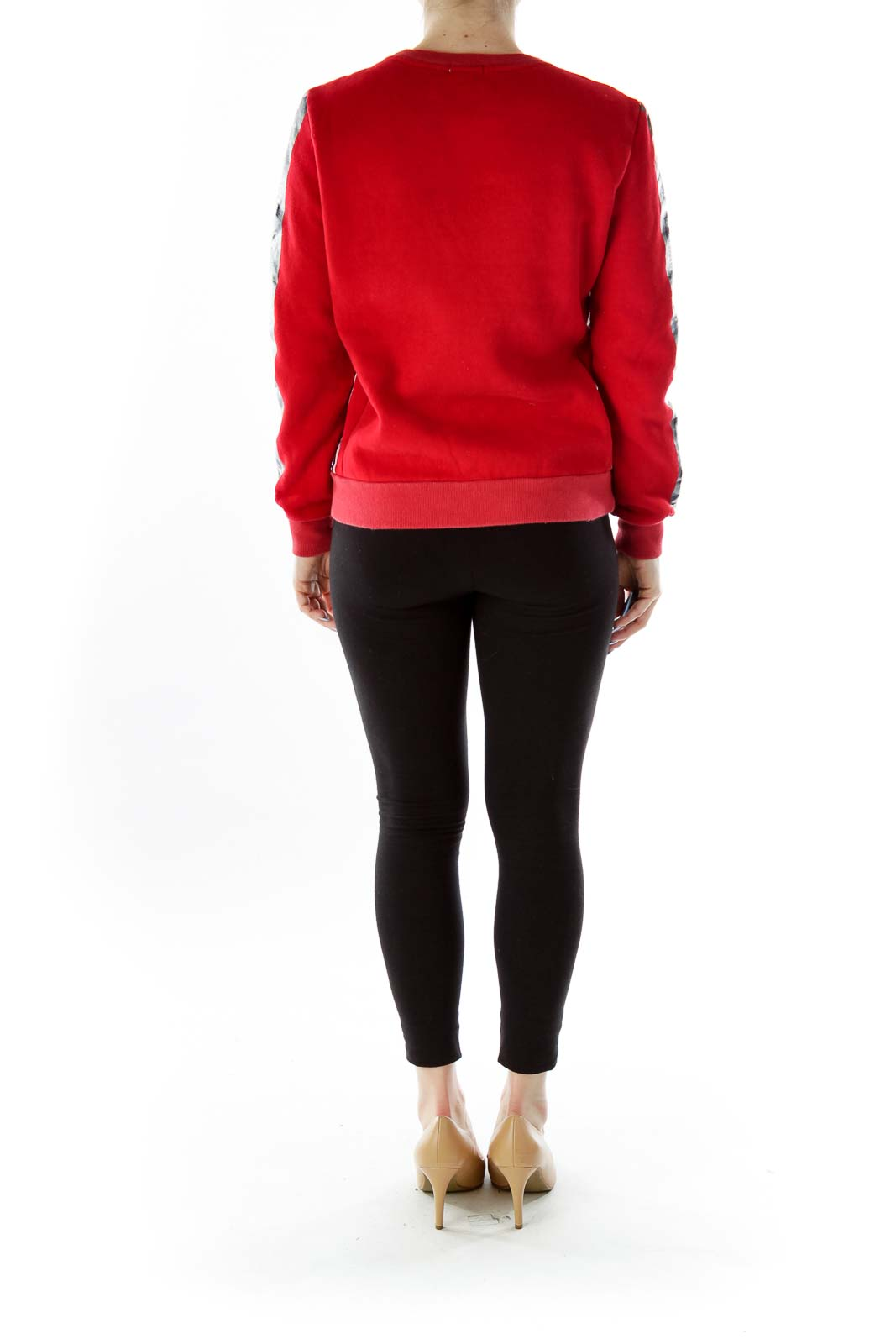 Red Multicolor Embroidered Sweatshirt