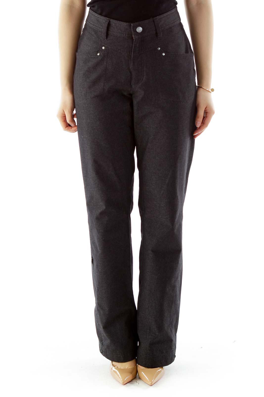 Dark Gray Straight-Leg Pants