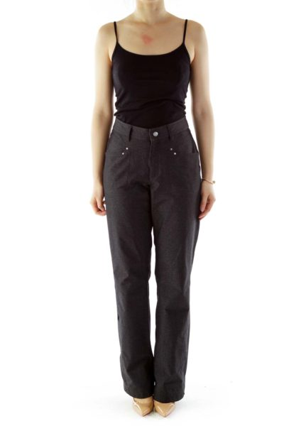 Dark Gray Straight-Leg Pants