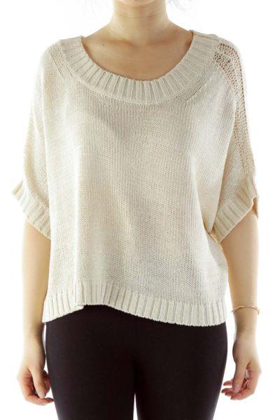 Cream Oversized Knit Top