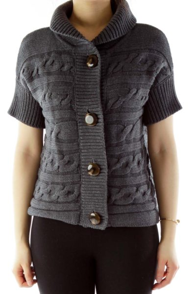 Gray Buttoned Short-Sleeve Cable Knit Sweater