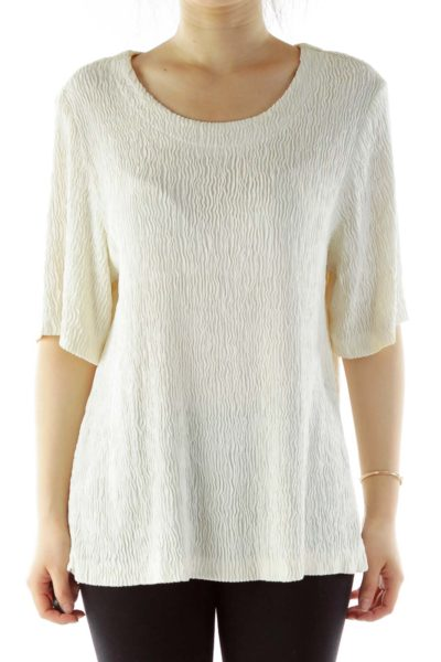 Cream Textured Short-Sleeve Blouse
