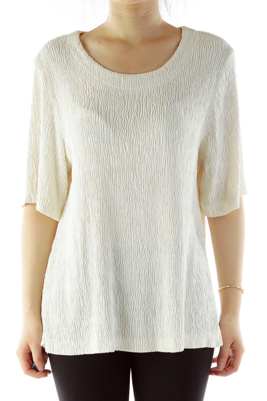 Cream Textured Short-Sleeve Blouse