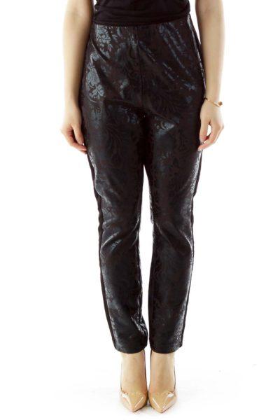 Black Flower Velvet Elastic High-Waisted Pants