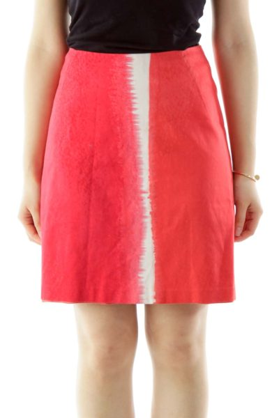 Red Pink White Color Block Skirt
