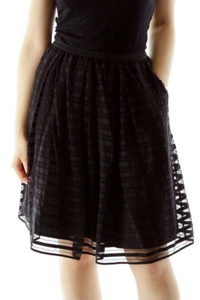 Black Layered A-Line Skirt