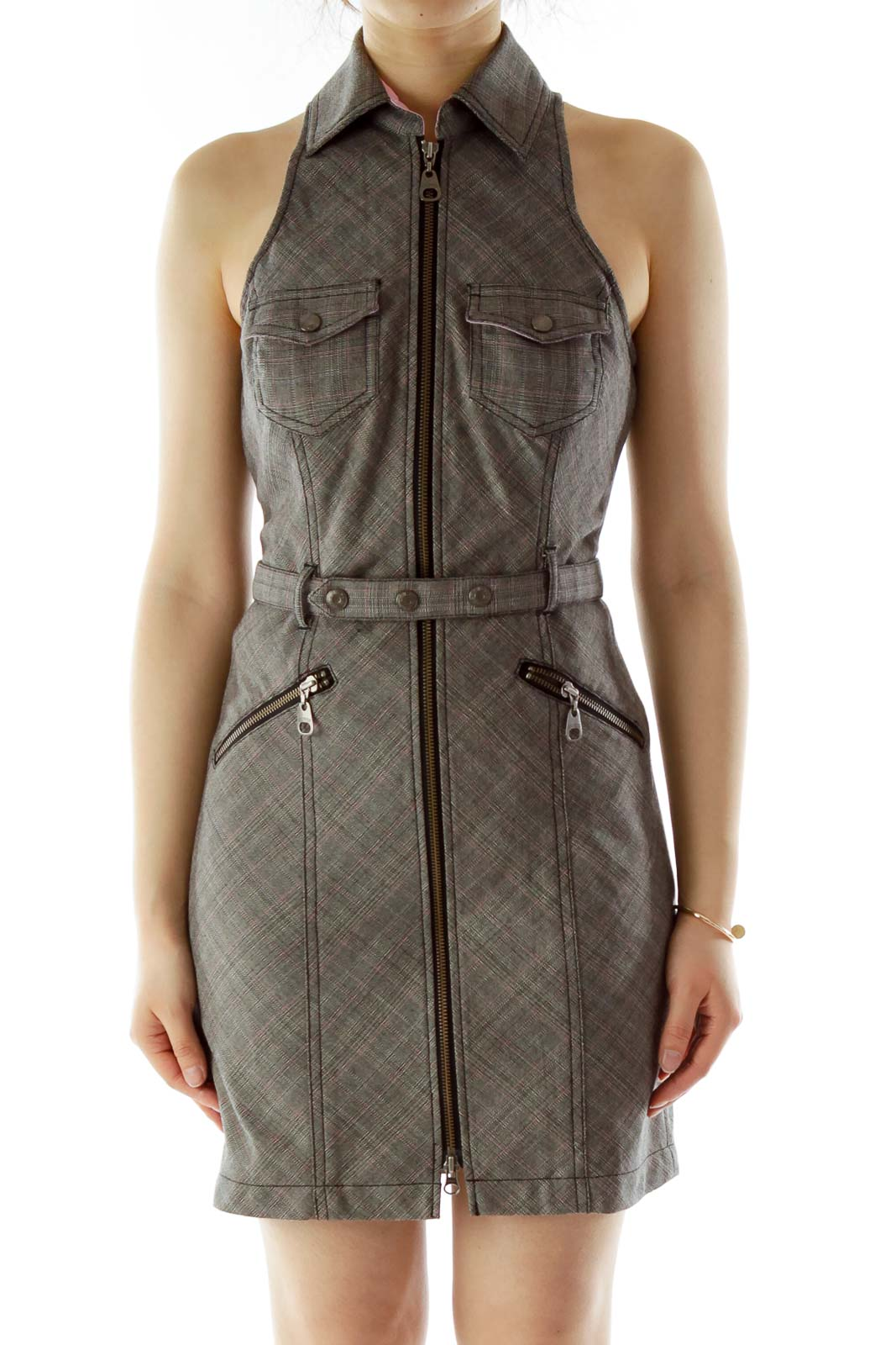 Gray Belted Zippered Work Dress
