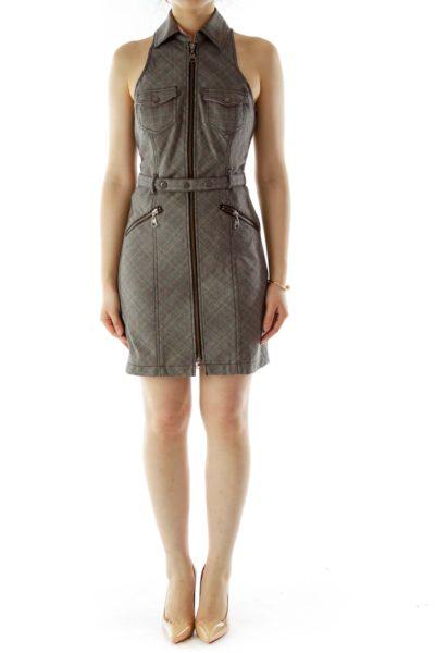 Gray Belted Zippered Work Dress