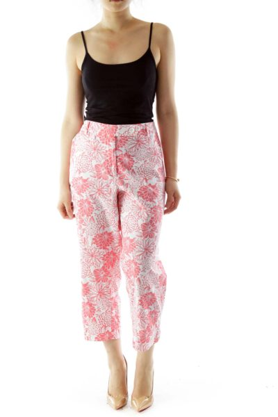 Pink White Flower Print Tapered Pants