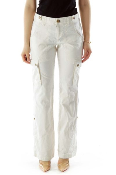 Beige Buttoned Cargo Pants