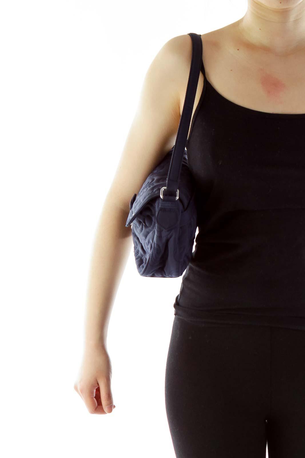 Blue Embroidered Quilted Shoulder Bag