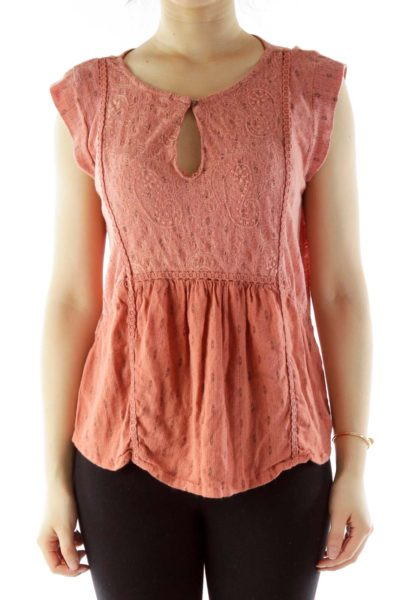Pink Embroidered Cut-Out Top