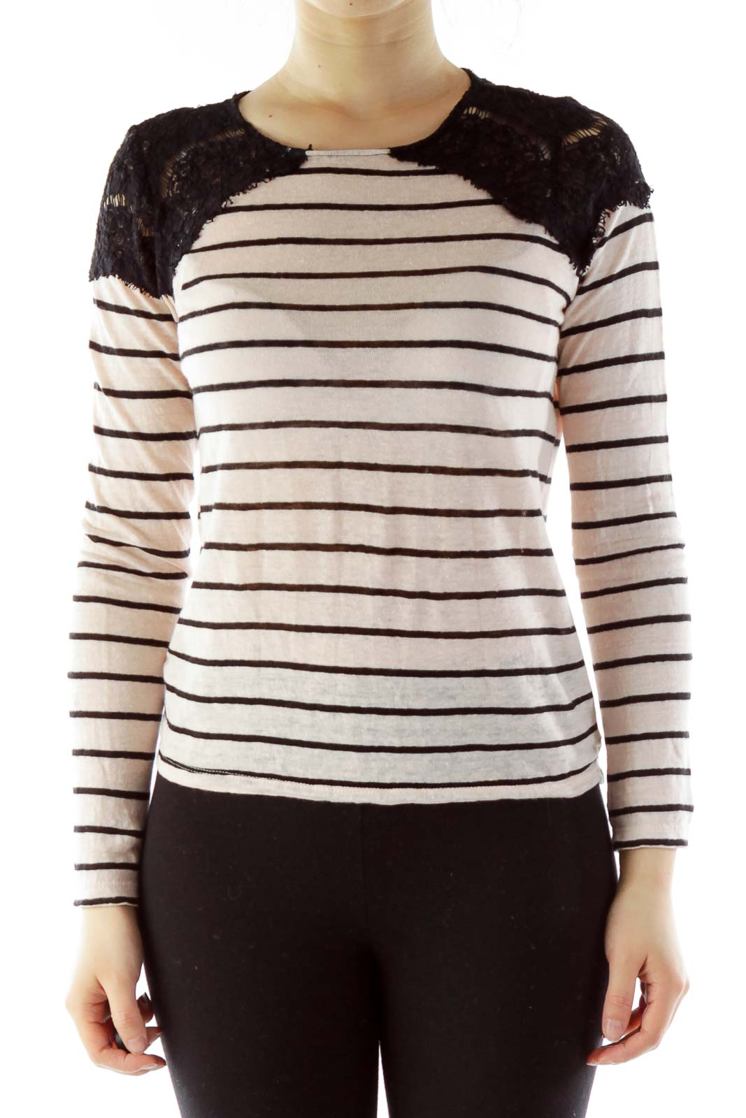 Pink Black Stripped Lace Top