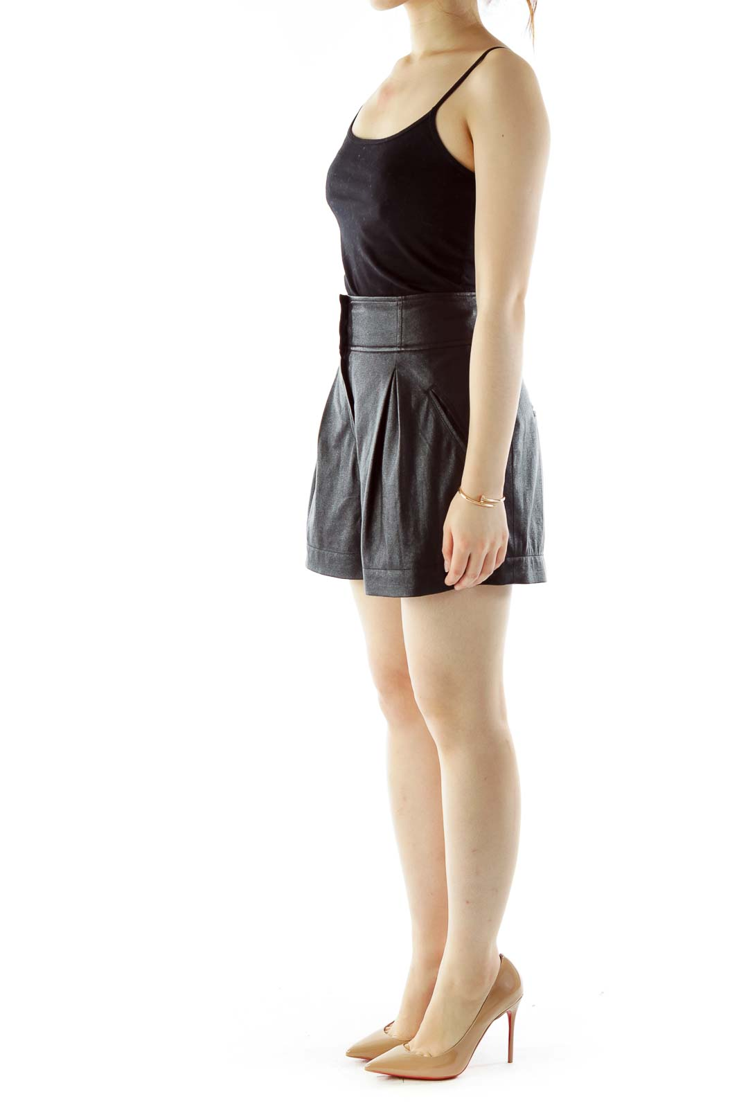 Black Pocketed High-Waisted Shorts