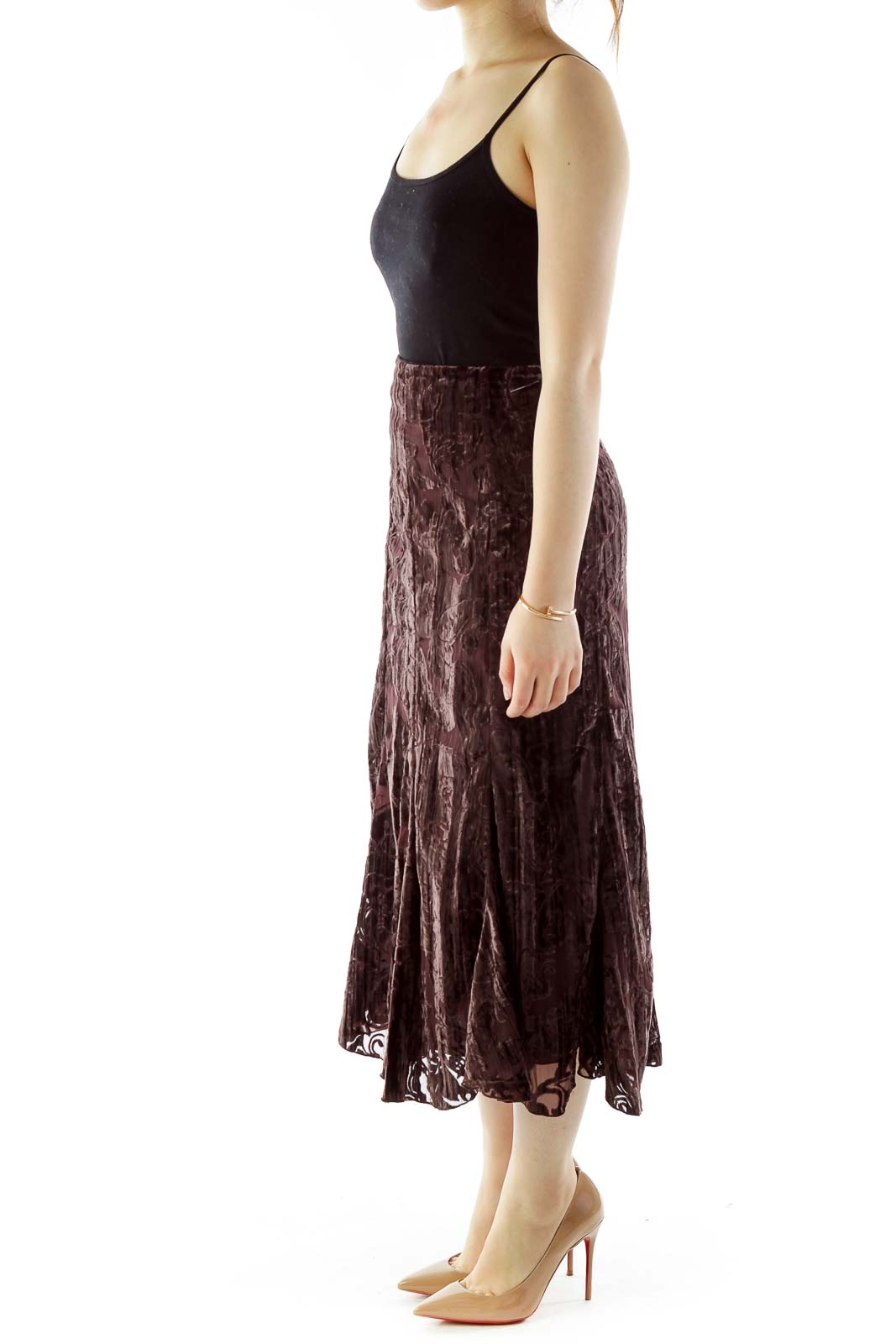 Brown Suede Maxi Skirt