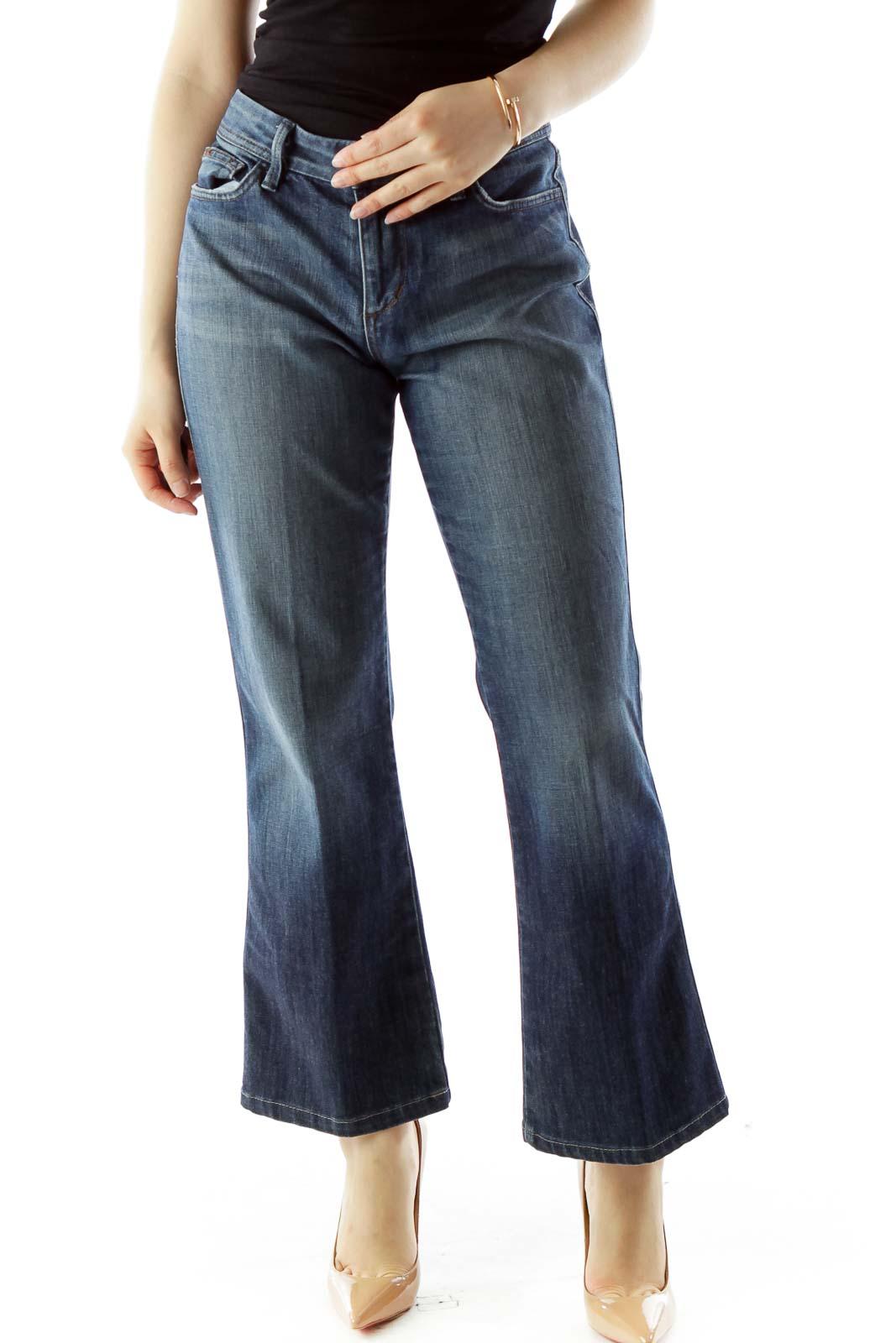 Blue High-Waisted Straight-Leg Jeans