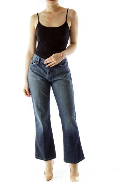 Blue High-Waisted Straight-Leg Jeans