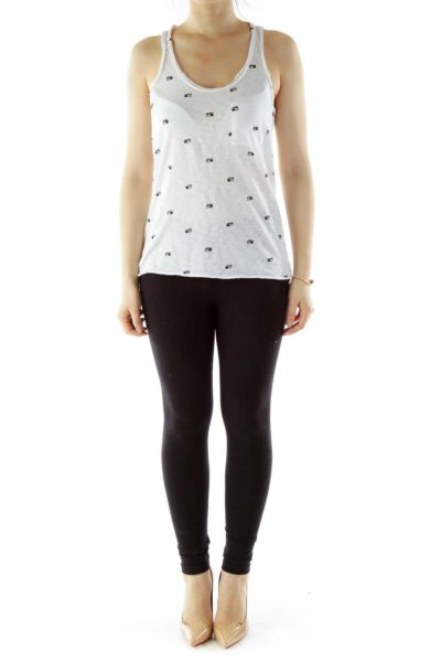 White Black Camera Print Tank Top