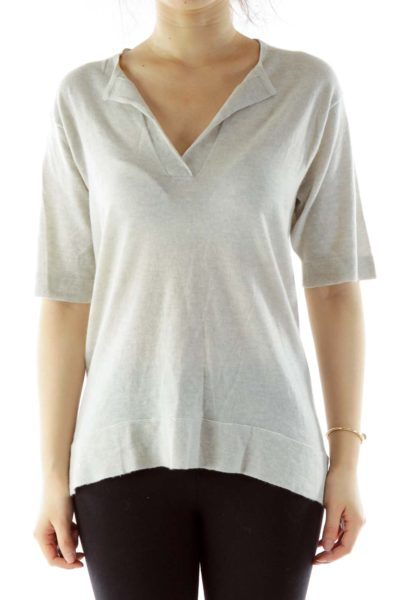 Gray V-Neck Short-Sleeve Cashmere Top