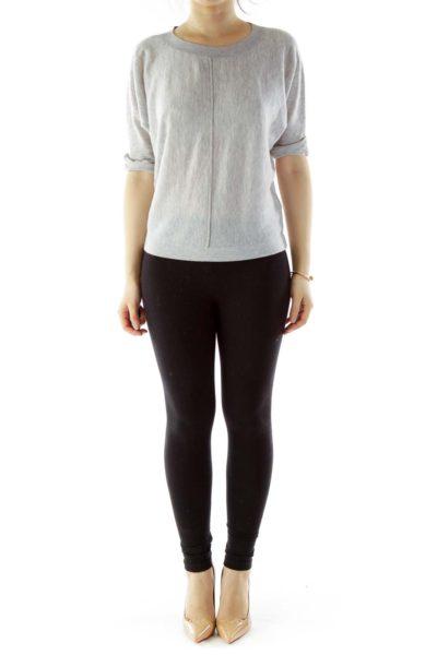 Gray Loose Short-Sleeve Knit Top