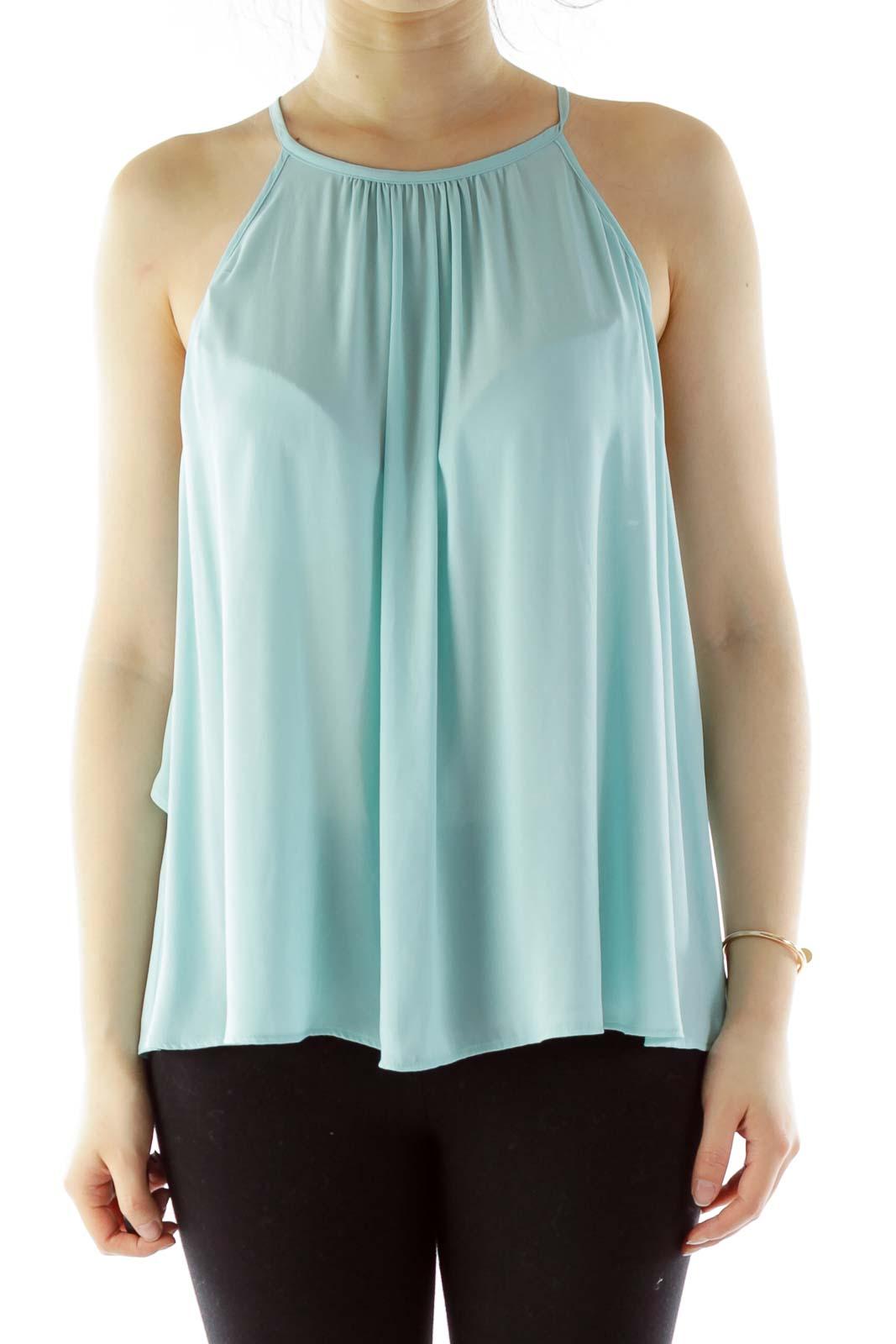 Tiffany Blue Ruffled Sleeveless Blouse
