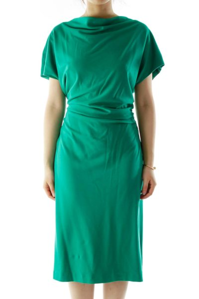 Green Scrunched Cocktail Dress
