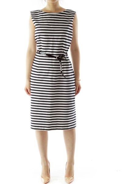 Black White Striped Belted Day Dress