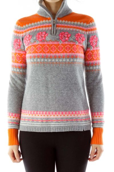 Gray Orange Pink Floral Geometric Zippered Sweater