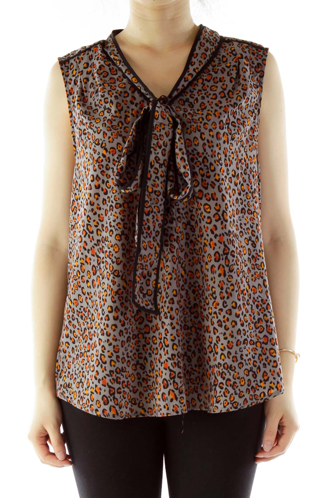Gray Leopard Sleeveless Blouse With Sash Detail