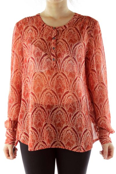 Red Buttoned Print Sheer Blouse