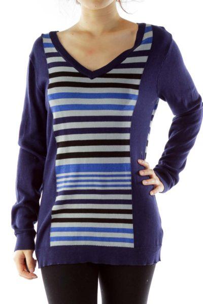 Navy Gray Striped V-Neck Knit Top